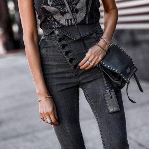 Simplee Sexy Skinny Denim Jeans Women High Waist Buttons Fold Streetwear Pants Capris Summer Fashion Female Gray Pencil Jeans