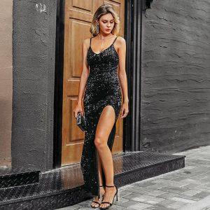 Black Bohemian Style Maxi Dress