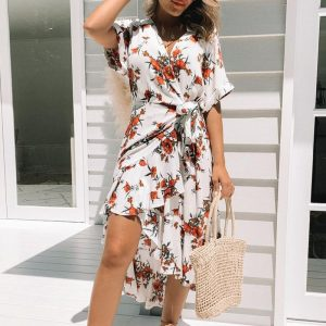 White Bohemian Summer Dress with Flowers