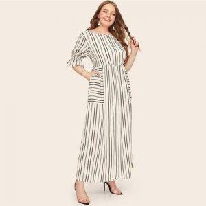 Bohemian maxi dress large size white