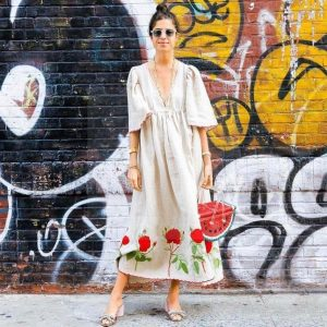 White bohemian dress with long sleeves