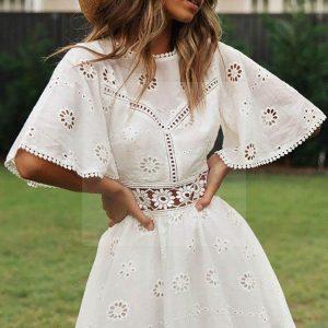 White lace short dress bohemian spirit