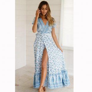 Bohemian chic dress blue