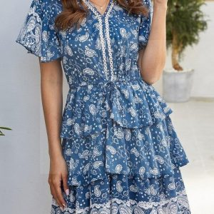 Bohemian short dress blue