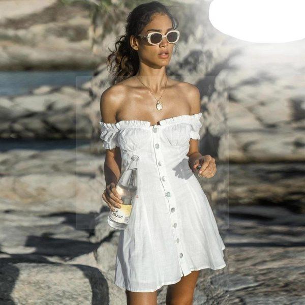 White bohemian long dress with bare back