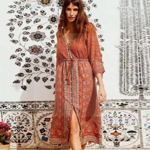 Bohemian style dress for fall