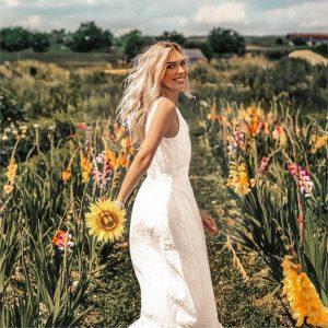 White hippie chic dress